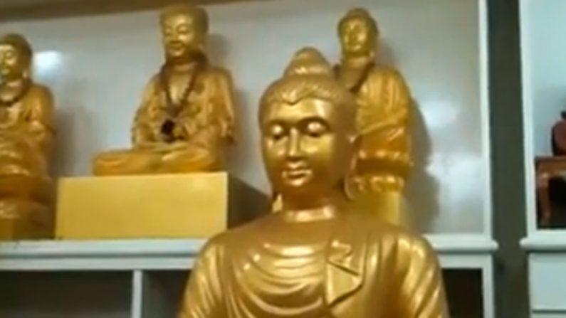 Estátuas de Buda são vistas se movendo e emitindo luz na Malásia