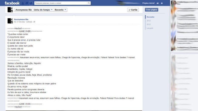 Página Anonymous Rio no facebook é hackeada