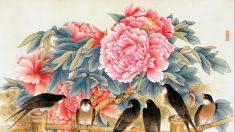 Liang Yan Sheng pinta flores e aves com técnica tradicional chinesa