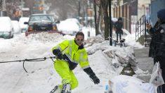 Surfando na neve nas ruas de Nova York