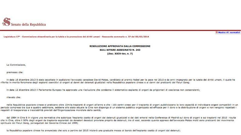 Senado italiano aprova resolução contra o tráfico de órgãos na China