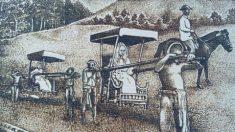 Pirografia, desenhos a partir da queima de madeira com lupa