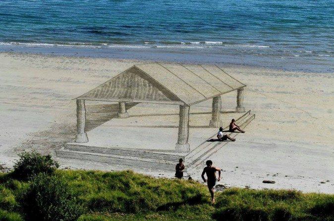 Depois das ruas, desenhos em 3D nas areias impressionam