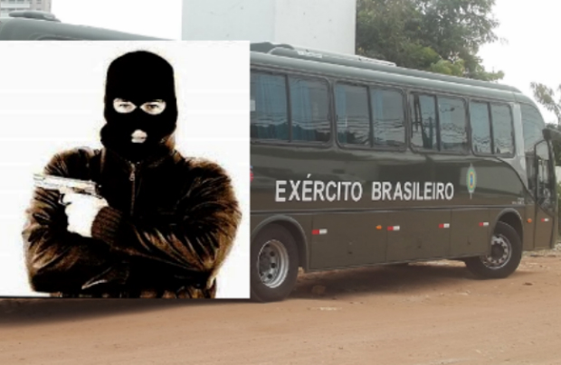Três homens assaltam ônibus com 42 militares do Exército a bordo, no Paraná