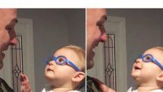 Bebê com deficiência visual vê o pai com novos óculos num encontro adorável