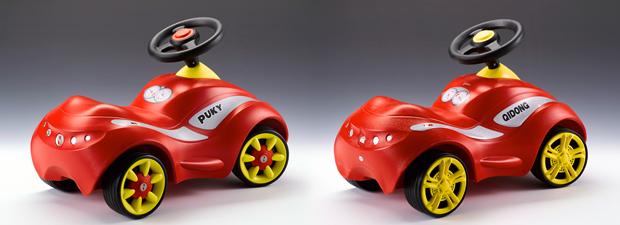 O carro de brinquedo original Puky à esquerda, em comparação com a marca chinesa Qidong do mesmo modelo (Cortesia de Aktion Plagiarius)