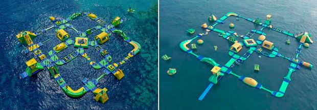 O parque aquático inflável original à esquerda, em comparação com a contrafação chinesa à direita (Cortesia de Aktion Plagiarius)