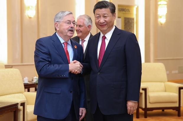 O embaixador norte-americano Terry Edward Branstad (esq.) cumprimenta o líder chinês Xi Jinping no Grande Salão do Povo em Pequim em 30 de setembro de 2017 (Lintao Zhang/AFP/Getty Images)