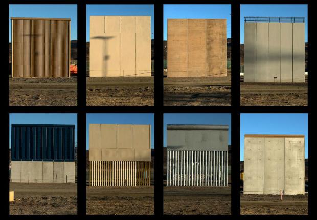 Esta combinação de imagens mostra os oito protótipos do muro de fronteira entre Estados Unidos e México proposto pelo presidente Donald Trump, que está sendo construído perto de San Diego, visto do outro lado da fronteira em Tijuana, no México, em 22 de outubro de 2017 (Guillermo Arias/AFP/Getty Images)