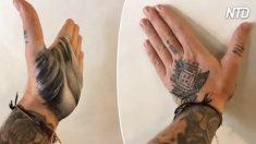 Artista pinta com a palma da mão—simplesmente belíssimo