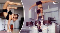 Mãe e ex-acrobata do Cirque du Soleil se exercita com seus filhos. Vale a pena ver!