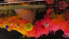 Parece uma brincadeira com tintas, mas efeito visual é fascinante