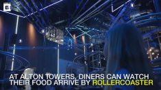 Restaurante entrega pedidos por meio de trilhos flutuantes. Parece uma cena futurística!