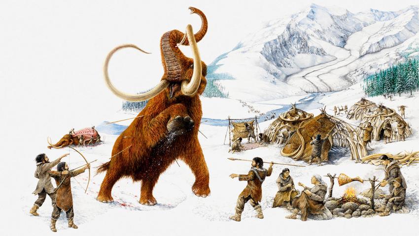 Uma ilustração de seres humanos caçando um mamute (Ocean/Corbis)