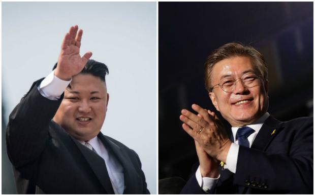 A última vez em que as duas Coreias realizaram reuniões oficiais foi em dezembro de 2015. Na foto, o líder norte-coreano Kim Jong-un (esq.) e o presidente sul-coreano, Moon Jae-in (Ed Jones/AFP/Getty Images)