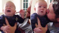 Bebê não para de chorar, mas seu pai tem uma técnica para resolver isso