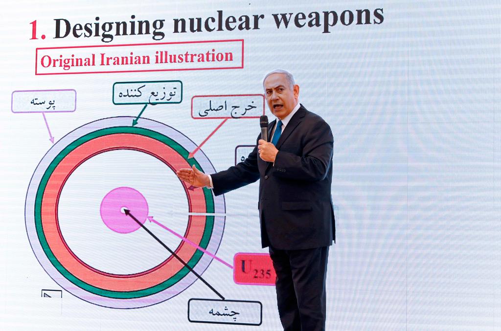 O primeiro-ministro israelense Benjamin Netanyahu discursa sobre o programa nuclear do Irã no Ministério da Defesa de Israel, em Tel Aviv, em 30 de abril de 2018 (Jack Guez/AFP/Getty Images)
