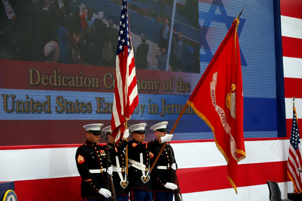 Fuzileiros navais norte-americanos participam da cerimônia de abertura da nova embaixada dos EUA em Jerusalém, em 14 de maio de 2018 (Ronen Zvulun/Reuters)