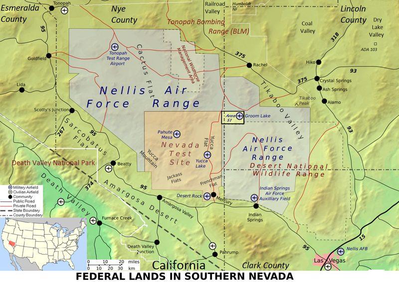 Mapa da entrada para o site de segurança nacional de Nevada, anteriormente conhecido como o local de teste de Nevada (Epoch Times)