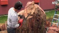 Artista trabalha em grande pedaço de madeira com motosserra e quando termina é fantástico