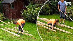 Menino parece brincar com hastes de madeira, mas de fato ele monta invenção de Leonardo da Vinci. Confira!