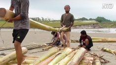 Grupo usa 50 bananeiras descartadas para construir jangada fascinante. Confira!