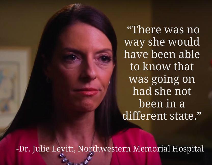 """A ginecologista-obstetra Dra. Julie Levitt disse: """"Não havia como ela saber que isso estava acontecendo se ela não estivesse em um estado diferente"""" (Captura de tela do vídeo promocional do livro """"37 Seconds"""")"""