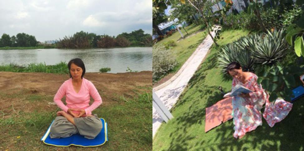 "Practicing Falun Dafa meditation and reading ""Zhuan Falun"" (NTD.TV)"