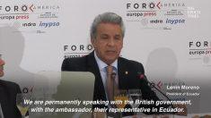 Nunca fui a favor das atividades do Wikileaks, diz presidente do Equador (Vídeo)