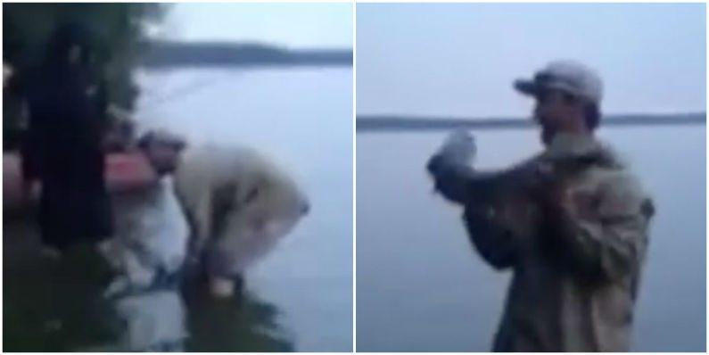 Peixe tenta escapar de pescador que resolve fazer selfie durante pescaria