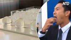 Pessoas comem bolas esféricas que parecem implantes mamários – o que será que elas estão fazendo?