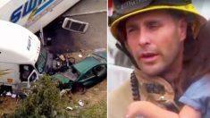 Bombeiro é aclamado herói após abraçar menina em acidente de carro fatal