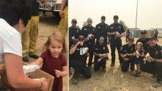 Menina de dois anos distribui burritos caseiros para bombeiros que lutam contra incêndios florestais na Califórnia