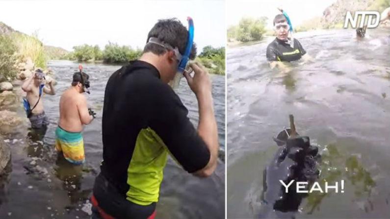 Rapazes encontraram objetos de valor durante aventura de mergulho em rio