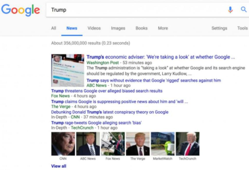 """Primeira página de resultados de pesquisa feita no Google para a palavra-chave """"Trump"""", utilizando a guia """"Notícias"""" do motor de busca, na terça-feira, 28 de agosto (Captura de tela)"""