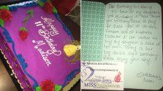 Estranho paga bolo de aniversário de menina e coloca cartão com mensagem comovente