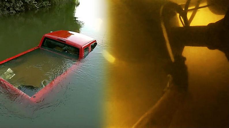 Caçador de tesouros encontra picape submersa no fundo de rio