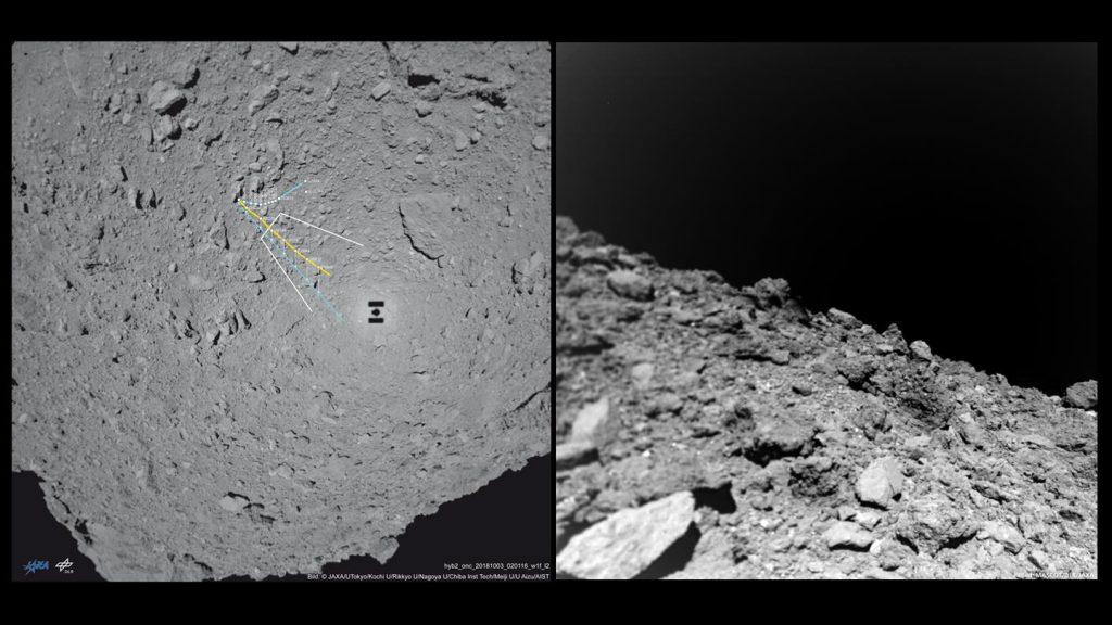 Sonda MASCOT, em 3 de outubro, separou-se da nave e aterrissou com sucesso sobre a superfície do asteroide. Ela explorou a superfície de Ryugu por mais de 17 horas, durante as quais coletou dados de sua superfície (Centro Aeroespacial Alemão)