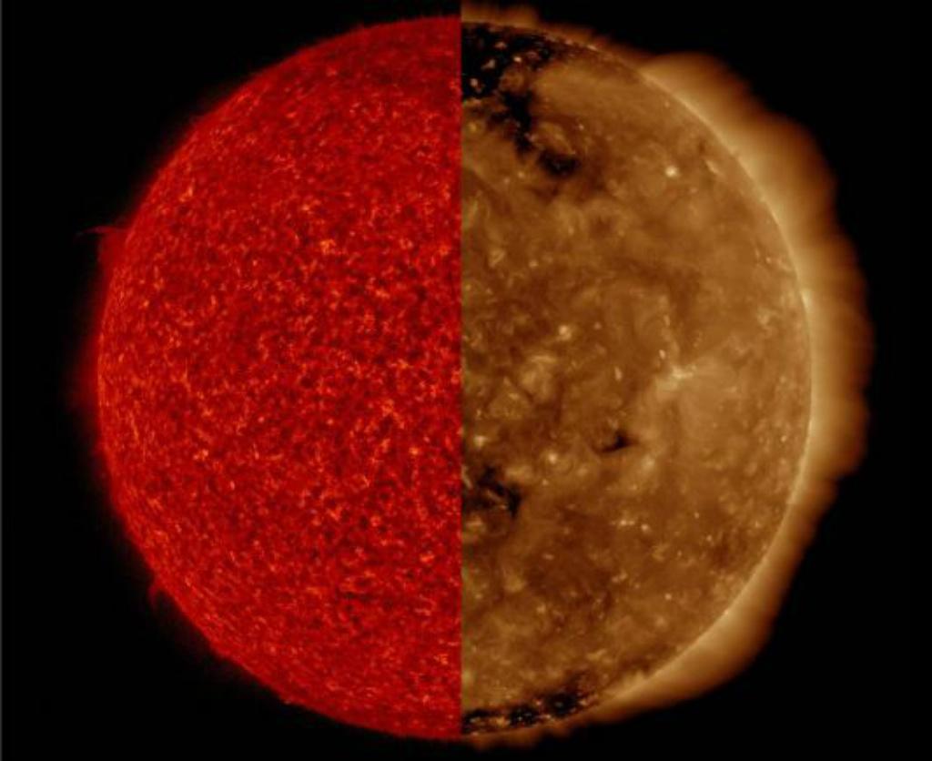 Sol observado em dois comprimentos de onda diferentes, o que mostra características em dois níveis de profundidade (NASA)