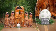 Família inteira se fantasia de dinossauro para anunciar gravidez