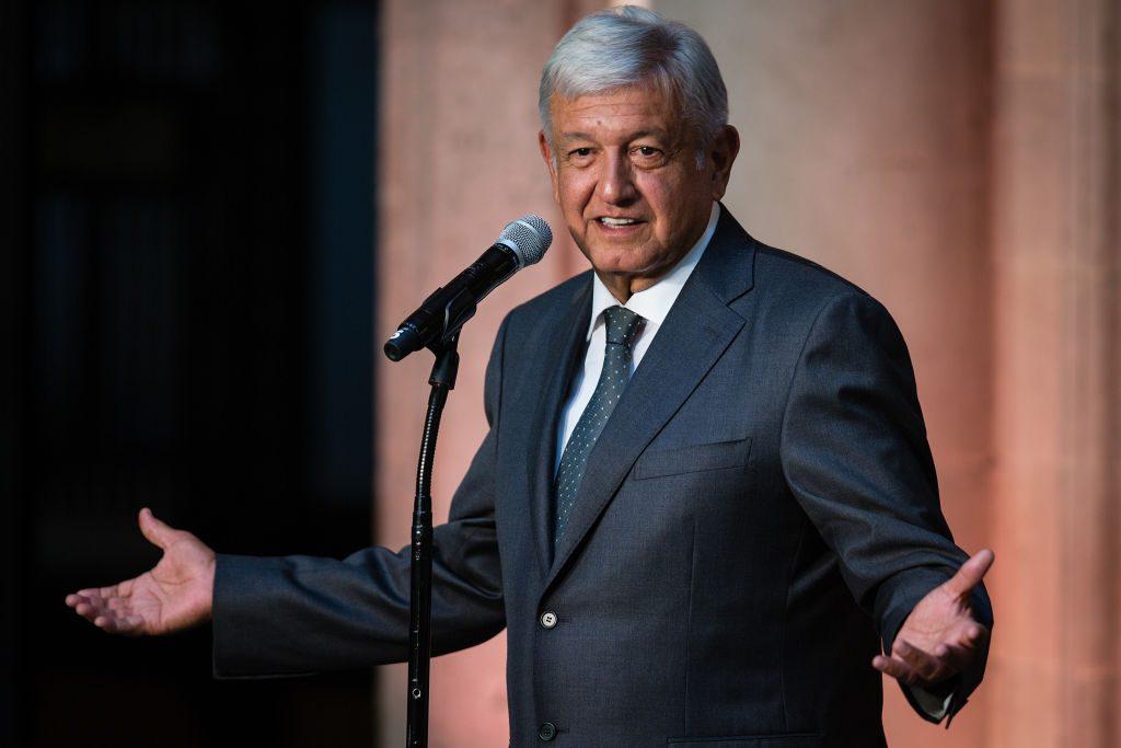 Presidente eleito do México, Andrés Manuel López Obrador, em uma coletiva de imprensa no Palácio Nacional em 3 de julho (Manuel Velasquez/Getty Images)