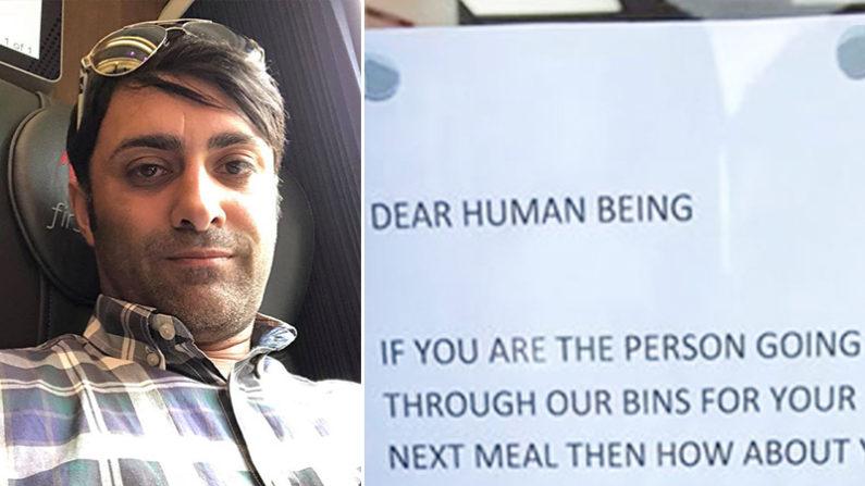Dono da loja escreve nota comovente para sem-teto que vasculha seu lixo todos os dias