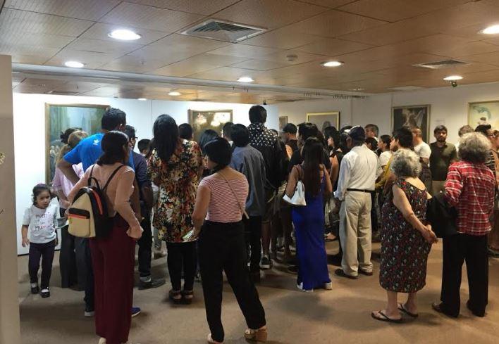 """Exposição de Arte """"Verdade, Benevolência, Tolerância"""" na Sala Paracas do Ministério da Cultura do Peru em Lima, em janeiro de 2019 (Associação do Falun Dafa do Peru)"""