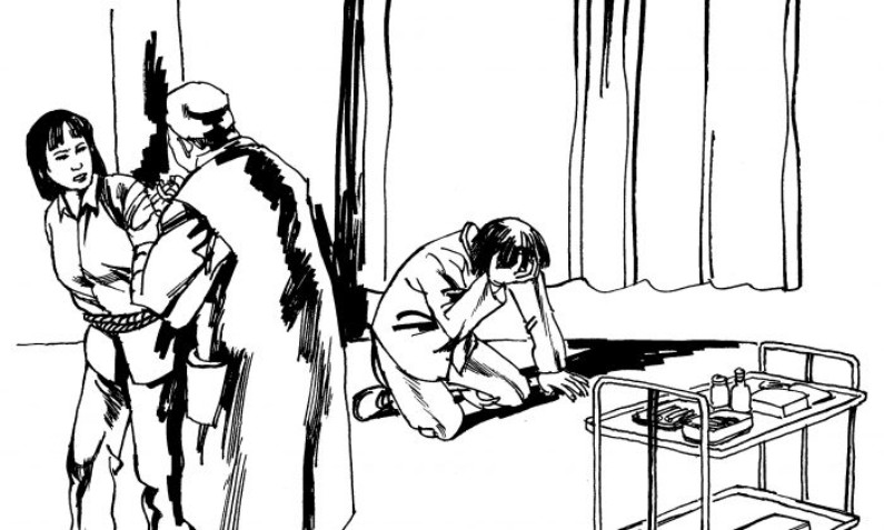 Ilustração de uma vítima que foi injetada à força com drogas psiquiátricas. O abuso psiquiátrico como método de perseguição é comum na China, particularmente contra os praticantes do Falun Dafa (Minghui.org)