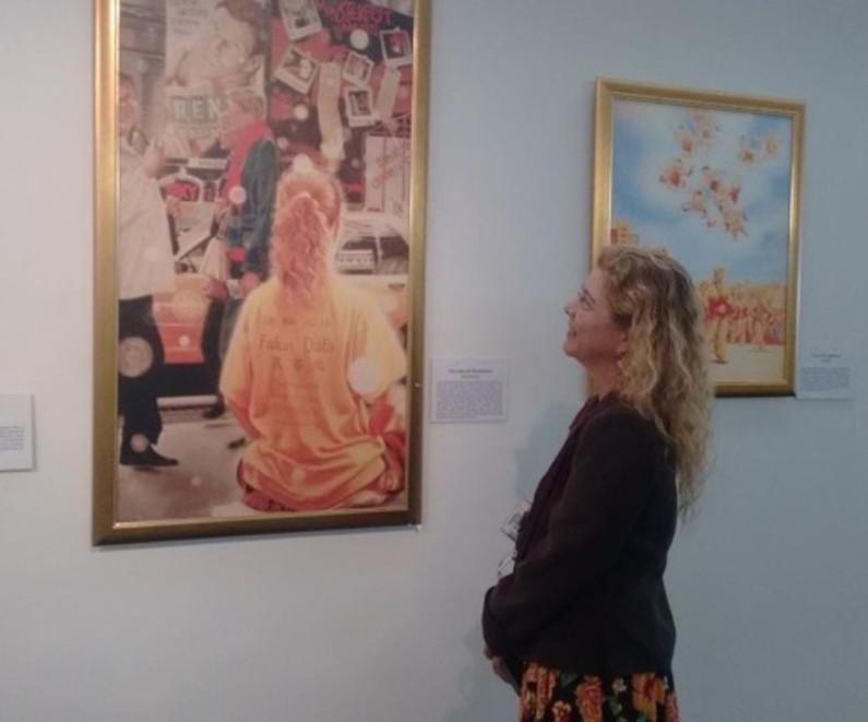 """Pintura """"As ruas de Manhattan"""" emocionou Evelin (Minghui.org)"""