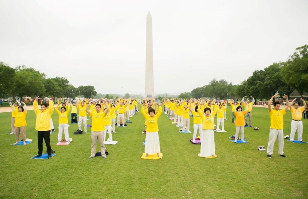 Prática de exercício em grupo (Minghui.org)
