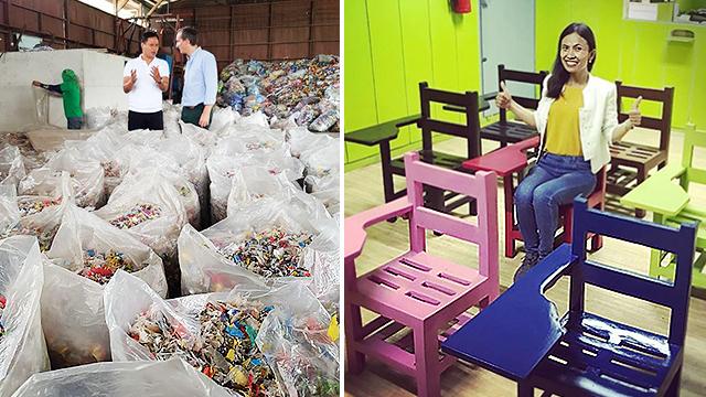 Gênio filipino usa palhas de plástico e embalagens de doces para fazer cadeiras de plástico para escolas