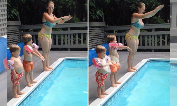 Mãe ensina crianças a mergulhar, mas seu segundo filho tem outros planos hilários