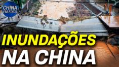 Chuvas torrenciais atingem o norte da China, causando inundações e deslizamentos.