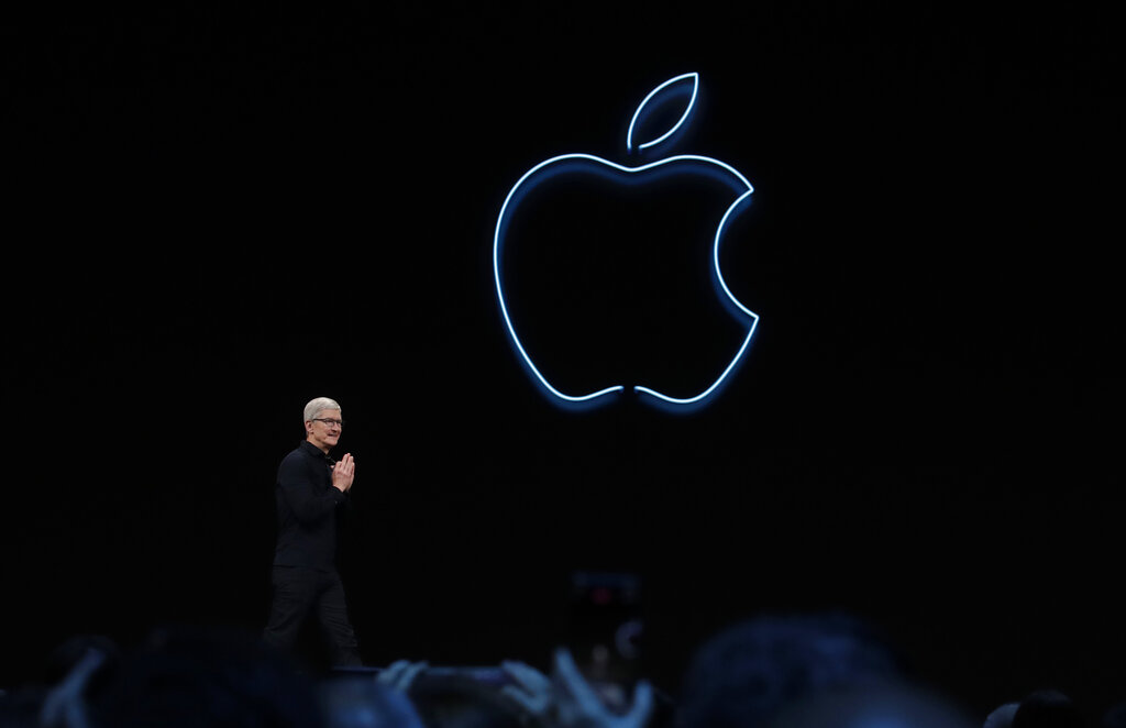O CEO da Apple, Tim Cook, fala na Apple Worldwide Developers Conference, em San Jose, Califórnia, em 3 de junho de 2019 (AP Photo / Jeff Chiu)